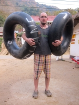 We rented a couple of tyrs to float down the river on