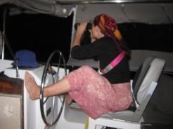 Nina on our first nightwatch. Notice her left foot, tut tut tut!