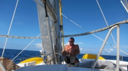 Keith working the sails