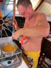 Keith blends Nina's Pumpkin 2 speed Makita soup